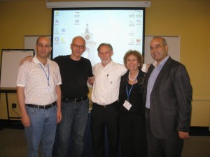 Group Shot Israeli and Palestinian Scholars with Robert E. McNUlty