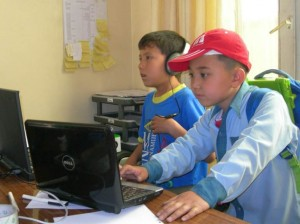 Selina's students working from their school in Kabul