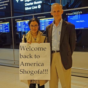 Shogofa returns from Afghanistan to resume her university studies. Pax Populi's Robert McNulty on right.