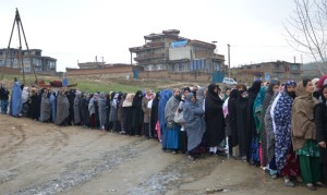 Women line up to vote in Afghanistan's recent election. (Photo: Jawad Kia)