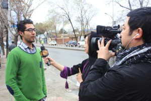 Sajid being interviewed re election work 2014
