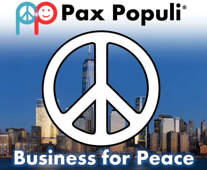 """Businesses could be on the forefront of advancing peace. (Background photo: """"Lower Manhattan from Jersey City November 2014 panorama 3"""" by King of Hearts / Wikimedia Commons)"""